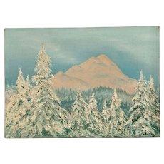 Irene Adams, Glowing Pink Mountain Winter Wonderland Landscape Oil Painting 1975