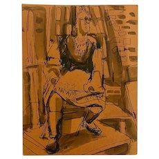 Walker Max Keasler, Woman's Portrait Pen and Ink