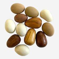 Vintage Folk Art and  Easter Wood and Ceramic Eggs One Dozen