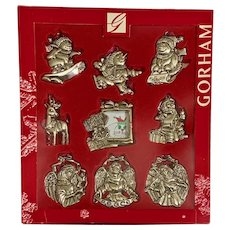 Gorham Silver Plated Christmas Ornaments Set of 9
