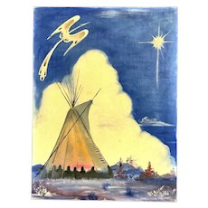 R C Smith, Tepee Native American Twilight Landscape Oil Painting