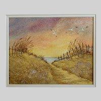 Vi Webb, Coastal Landscape Seagulls Sand Dunes Mixed Media Watercolor Painting