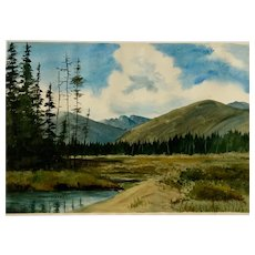 Mary Weiss, Mountain Foothills Landscape Watercolor Painting