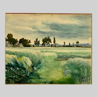 Igor Von Jakimow, Bucolic Landscape Watercolor Painting Signed By Listed Russian Artist
