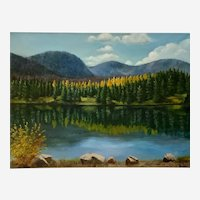 Mildred K Newsome, Autumn Colors Across The Lake Landscape Oil Painting