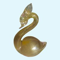 Art Glass Bird Murano Glass Swan Figurine Gold Inclusions 1950's