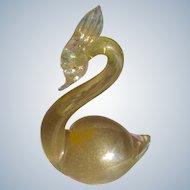 Art Glass Bird Murano Glass Swan Figurine Gold Inclusions 1950's