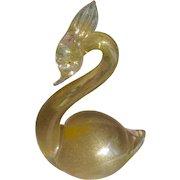 1950's Murano Glass Gold Inclusions Swan Bird Figurine