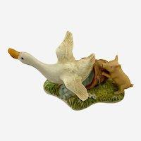 Vintage George Good Duck Scared By Pig Porcelain Figurine