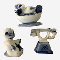 Vintage Delft Blue Ceramic Miniature Ducks and a Phone Figurine Group