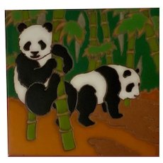 Panda Bear Tile Arius of Santa Fe Studio Art Pottery
