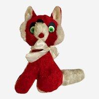 Mid-Century Red Fox Plush Stuffed Animal With Green Eyes