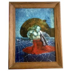 O Berry, Surreal Oil Painting, Weird Surrealist Mythical Sea Creature Signed by Artist