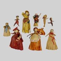 Vintage Corn Husk Dolls  Group