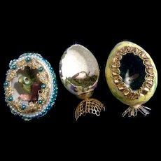 Diorama Easter Eggs Handmade Mid-Century Panoramic View Beaded, Ribbons, Glitter Figurines