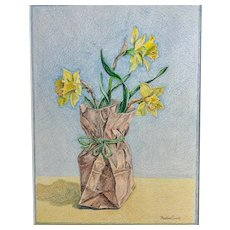 Barbara Ewell, Daffodil Bouquet in Paper Bag Still Life Conte Painting