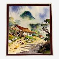 Wenceslao Cir, Siesta Time On the Farm Watercolor Painting