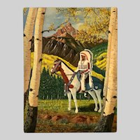 1967 Faunt Le Roy, Indian Chief on Horseback Oil Painting
