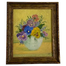 Lee M, Pansy Flowers Still Life Oil Painting 19th Century