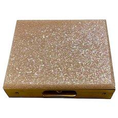 Mid-Century Pink Sparkle Glitter Lucite Empty Powder Compact Circa 1950s