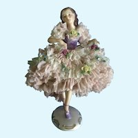 "Mueller-Volkstedt Ballerina Dancer Figurine Lace Trimmed 6-1/2"" Germany Gorgeous 1907-1945"