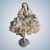 "Mueller-Volkstedt Ballerina Dancer Figurine Lace Trimmed 6-1/2"" Germany Gorgeous 1907-1945"