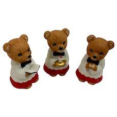 Three Christmas Choir Teddy Bears Enesco Figurines