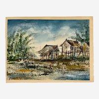 1969 Payab, Thailand Fishing Village Oil Painting