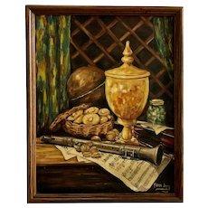 Clara Jonas Clarinet And Violin Instruments Table Still Life Oil Painting
