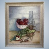 Helen C. Craig, Oil Painting 'Red Delicious' Apples and Old Lantern Painted on Canvas Signed by Artist