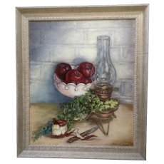 Helen C. Craig, Red Apples and Lantern Oil Painting