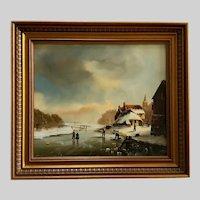 V Duren Sr. Dutch Frozen River Landscape Oil Painting