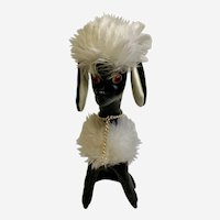 Mid-Century Black Poodle Dog Stuffed Plush Vinyl Animal