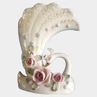 Vintage Napco Swan Planter Vase Japan Floral Pastel Pink S74A  Facing Left 1960's Beautiful Figurine