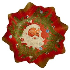 Mid-Century Paper Bowl Christmas Santa Claus Saint Nicolas Design West Germany