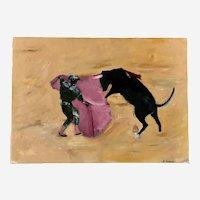 Mid-Century J. Hudson, Matador Bull Fighting Oil Painting on Canvas