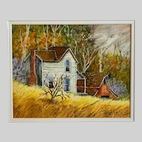 Vi Webb, Rural Landscape Country Homes Mixed Media Watercolor Painting
