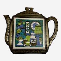 Mid Century Witty Owl Teapot Porcelain Tile Iron Trivet Wales Japan