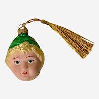 Kurt S. Adler Christmas Girl Green Hat Ornament Blown Glass Germany