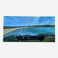 Nattawut, Boat at a Lake Oil Coastal Painting