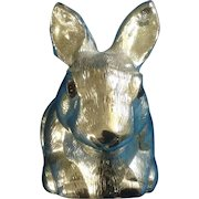 "Reed & Barton Silverplate Bunny Rabbit ""Piggy"" Bank with Original Sticker Vintage Figurine"