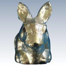 "Reed & Barton Silverplate Bunny Rabbit ""Piggy"" Bank with Original Sticker Vintage Figurine"