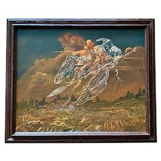 Cecil R Young Jr, Indian Warrior in the Sky Western Landscape Oil Painting