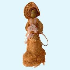 Vintage Orange Grass Doll with Wooden Head