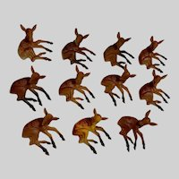 Mid-Century Christmas Miniature Deer Fawns Cake Toppers or Dollhouse