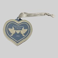 Wedgwood Heart Ornament First Christmas Together 2016 Blue Jasper Ware with Doves