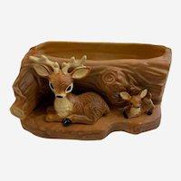 Mid-Century Norcrest Deer Planter Vase Log Figurine Japan