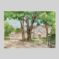 Will K Polley, Residential Home Landscape Watercolor Painting