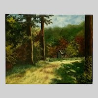 H Seley, Rural Cabin In The Woods Oil Painting