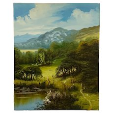 R Baldwin, Path to the Meadow Rural Landscape Oil Painting